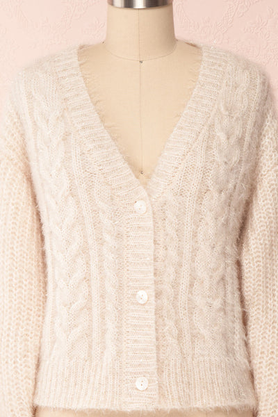 Durong Cream Fuzzy Knit Button-Up Crop Cardigan | FRONT CLOSE UP | Boutique 1861