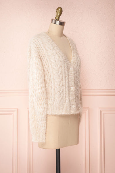 Durong Cream Fuzzy Knit Button-Up Crop Cardigan | SIDE VIEW | Boutique 1861