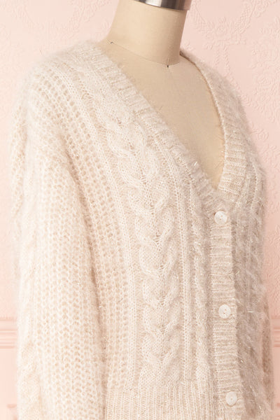 Durong Cream Fuzzy Knit Button-Up Crop Cardigan | SIDE CLOSE UP | Boutique 1861