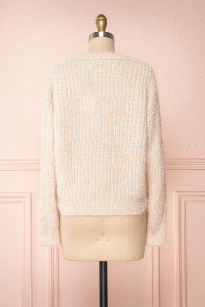 Durong Cream Fuzzy Knit Button-Up Crop Cardigan | BACK VIEW | Boutique 1861