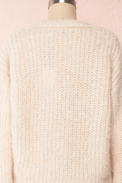 Durong Cream Fuzzy Knit Button-Up Crop Cardigan | BACK CLOSE UP | Boutique 1861