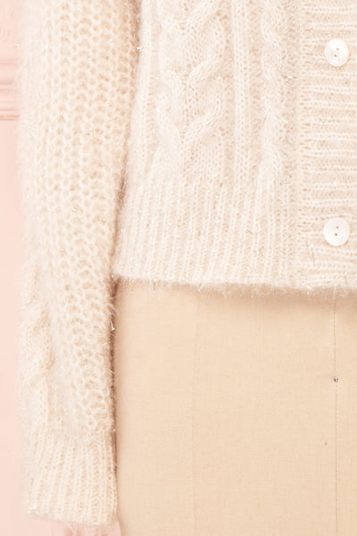 Durong Cream Fuzzy Knit Button-Up Crop Cardigan | BOTTOM CLOSE UP | Boutique 1861