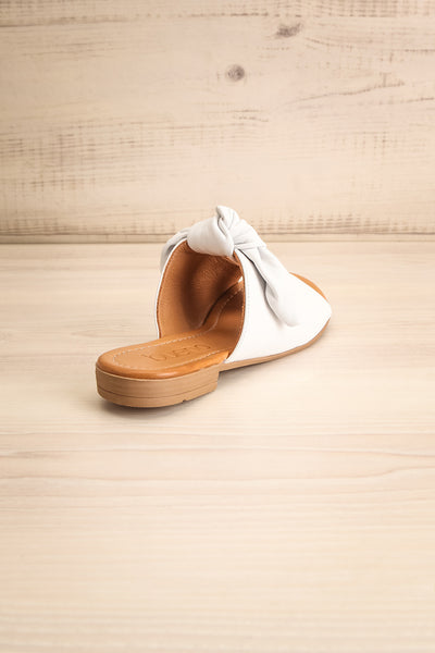 Ebelmen White Slip-On Sandals w/ Bow | La petite garçonne back view