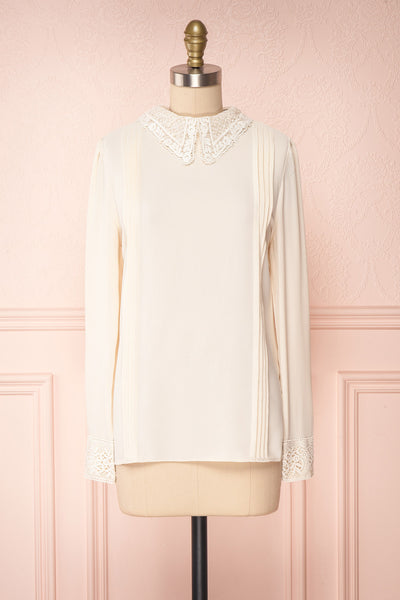Edel Beige Blouse with Lace Collar | Boutique 1861 front view