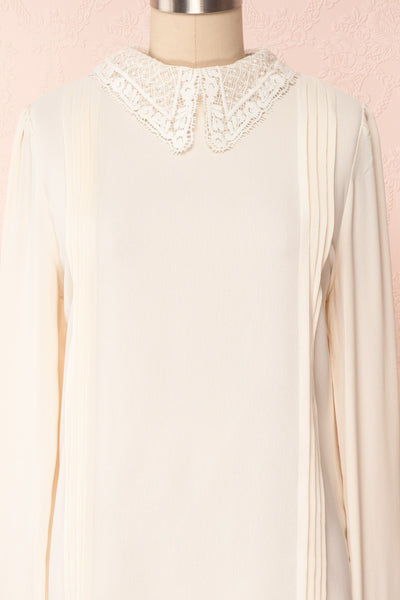 Edel Beige Blouse with Lace Collar | Boutique 1861 front close-up