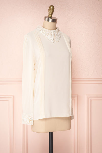 Edel Beige Blouse with Lace Collar | Boutique 1861 side view