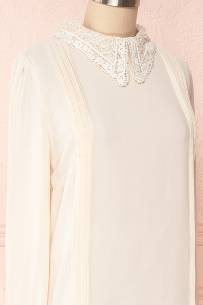 Edel Beige Blouse with Lace Collar | Boutique 1861 side close-up