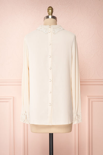 Edel Beige Blouse with Lace Collar | Boutique 1861 back view