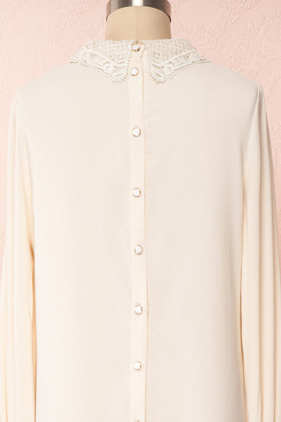 Edel Beige Blouse with Lace Collar | Boutique 1861 back close-up