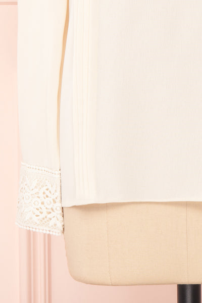 Edel Beige Blouse with Lace Collar | Boutique 1861 bottom close-up