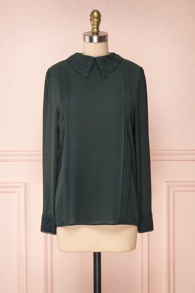 Edel Vert Green Blouse with Lace Collar | Boutique 1861 front view