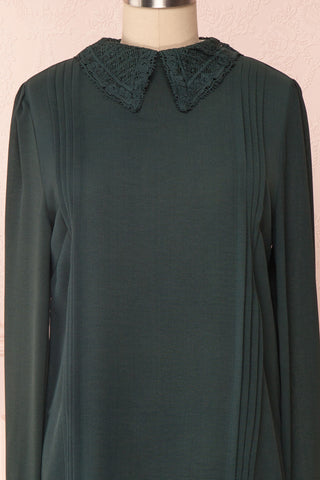 Edel Vert Green Blouse with Lace Collar | Boutique 1861 front close-up