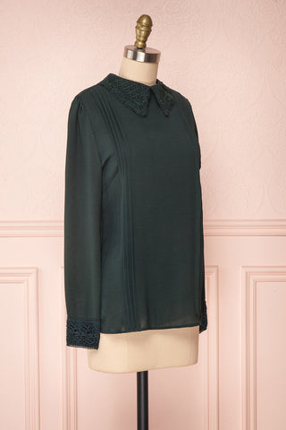 Edel Vert Green Blouse with Lace Collar | Boutique 1861 side view