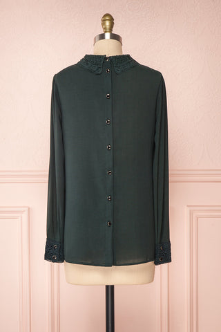 Edel Vert Green Blouse with Lace Collar | Boutique 1861 back view