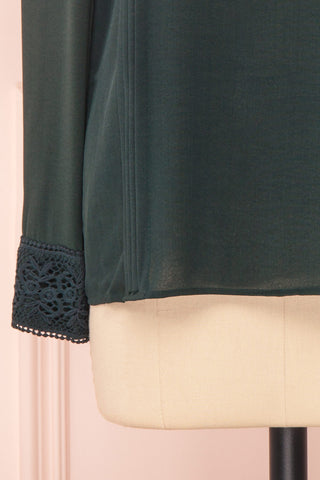Edel Vert Green Blouse with Lace Collar | Boutique 1861 bottom close-up