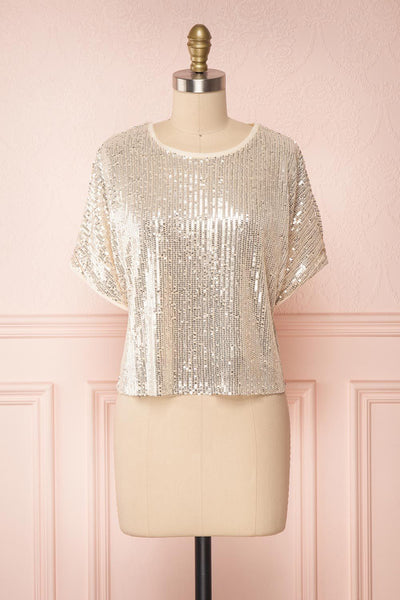 Eesha Beige Sequin Top | Haut à Paillettes | Boutique 1861