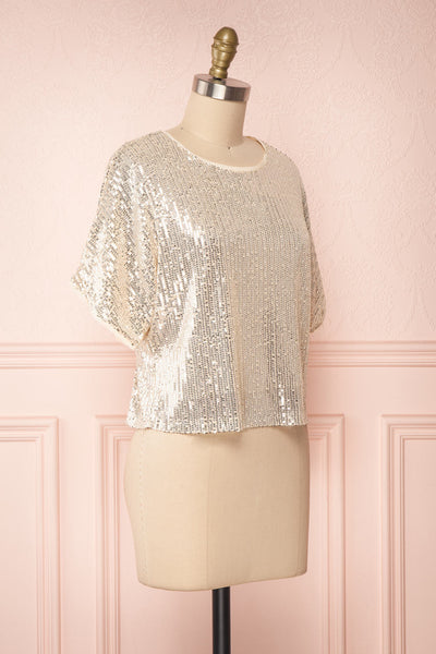 Eesha Beige Sequin Top | Haut à Paillettes side view | Boutique 1861 side view