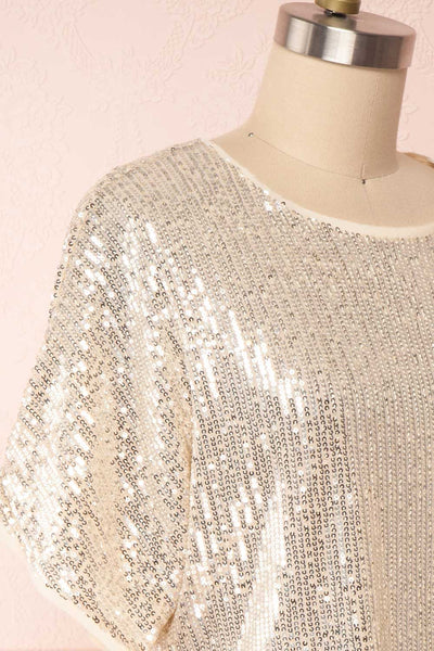 Eesha Beige Sequin Top | Haut à Paillettes side close up | Boutique 1861 side close-up