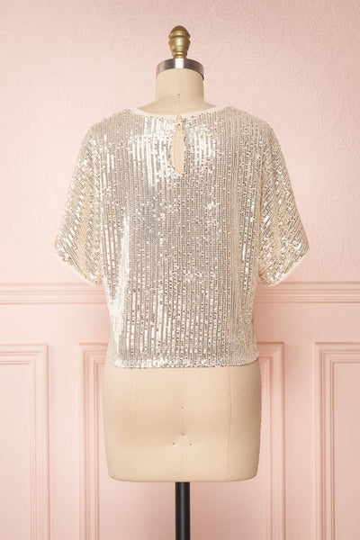 Eesha Beige Sequin Top | Haut à Paillettes back view | Boutique 1861 back view