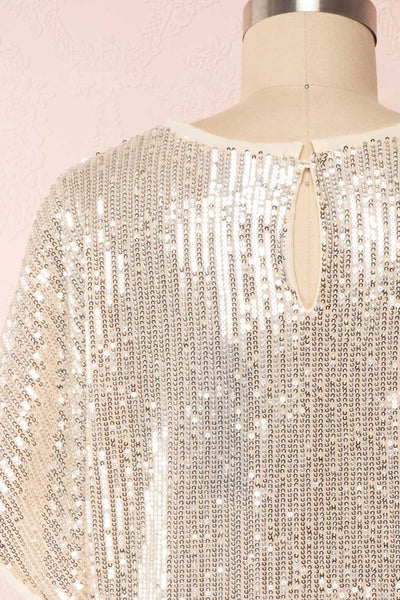 Eesha Beige Sequin Top | Haut à Paillettes back close up | Boutique 1861 back close-up