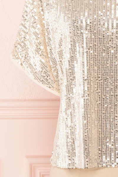 Eesha Beige Sequin Top | Haut à Paillettes bottom close up | Boutique 1861 back  bottom close-up