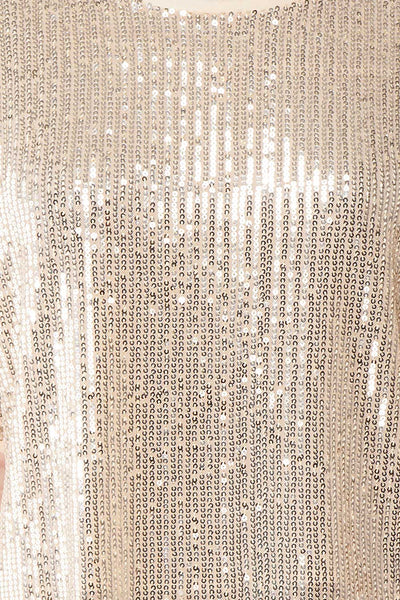 Eesha Beige Sequin Top | Haut à Paillettes fabric close up | Boutique 1861 fabric detail
