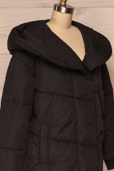 Eggemoen Black Oversized Quilted Parka w/ Hood | La Petite Garçonne side close up