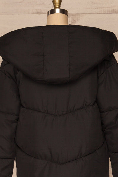 Eggemoen Black Oversized Quilted Parka w/ Hood | La Petite Garçonne back close up