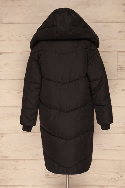 Eggemoen Black Oversized Quilted Parka w/ Hood | La Petite Garçonne back view hood up