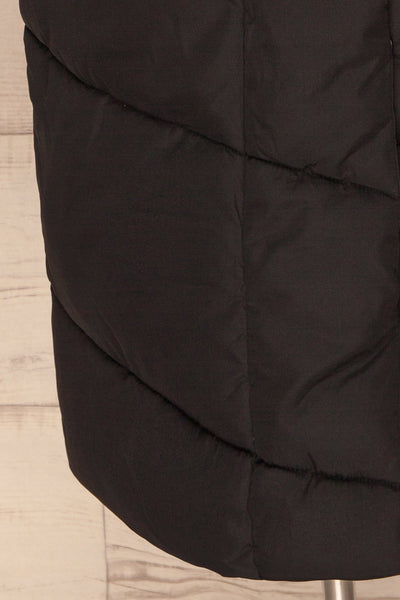 Eggemoen Black Oversized Quilted Parka w/ Hood | La Petite Garçonne bottom close up