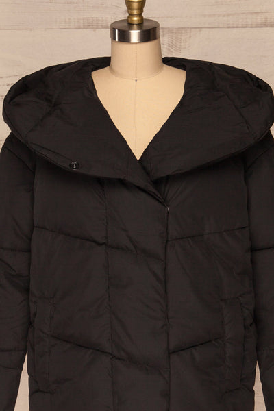 Eggemoen Black Oversized Quilted Parka w/ Hood | La Petite Garçonne front close up