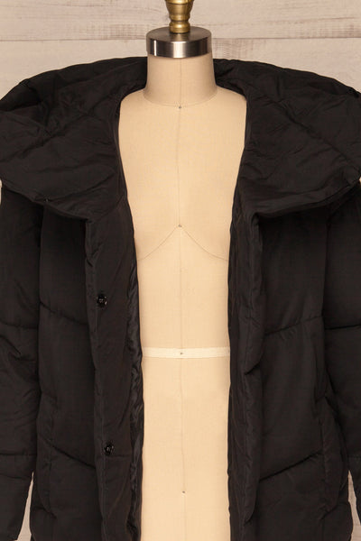 Eggemoen Black Oversized Quilted Parka w/ Hood | La Petite Garçonne front close up open
