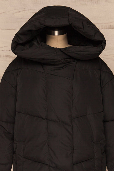 Eggemoen Black Oversized Quilted Parka w/ Hood | La Petite Garçonne front close up hood up
