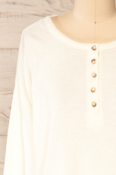 Eggesbones White Long Sleeve Henley Crop Top | La petite garçonne front close-up
