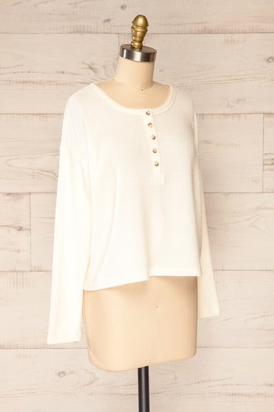 Eggesbones White Long Sleeve Henley Crop Top | La petite garçonne side view