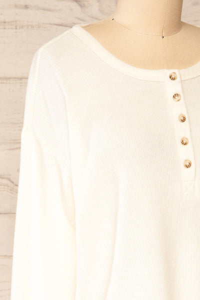Eggesbones White Long Sleeve Henley Crop Top | La petite garçonne side close-up