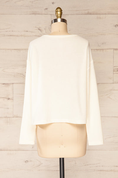 Eggesbones White Long Sleeve Henley Crop Top | La petite garçonne back view