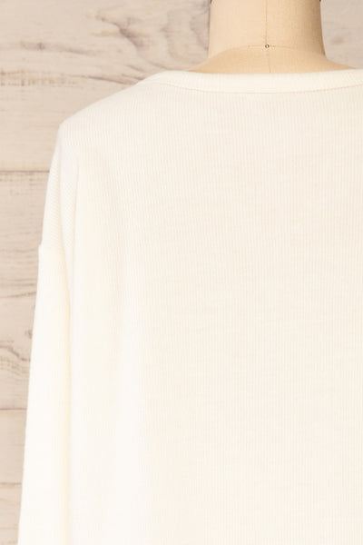 Eggesbones White Long Sleeve Henley Crop Top | La petite garçonne back close-up