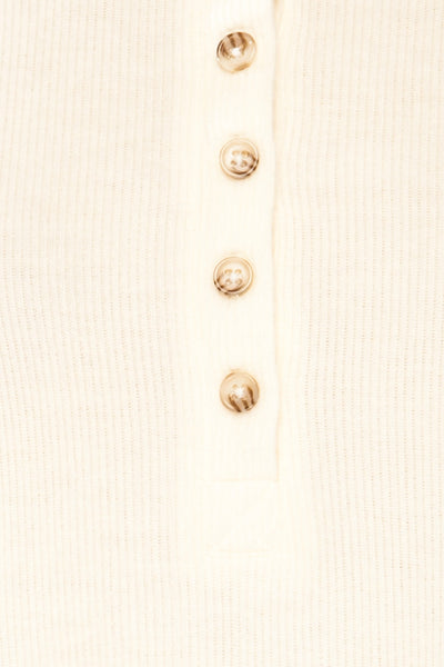 Eggesbones White Long Sleeve Henley Crop Top | La petite garçonne fabric