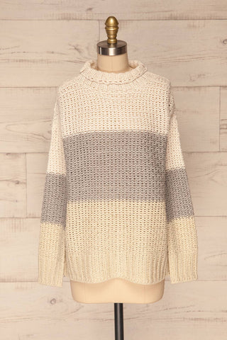 Egilstad Cream & Grey Knit Sweater | La Petite Garçonne front view