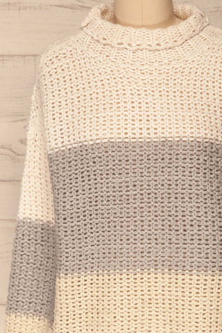 Egilstad Cream & Grey Knit Sweater | La Petite Garçonne front close-up