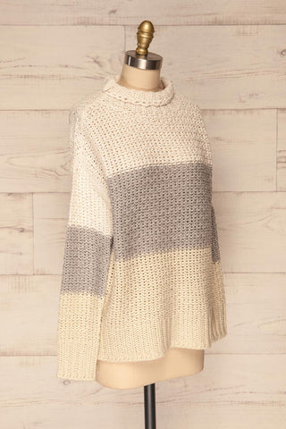 Egilstad Cream & Grey Knit Sweater | La Petite Garçonne side view