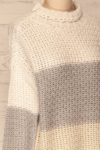 Egilstad Cream & Grey Knit Sweater | La Petite Garçonne side close-up