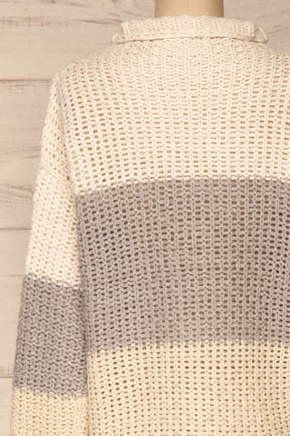 Egilstad Cream & Grey Knit Sweater | La Petite Garçonne back close-up