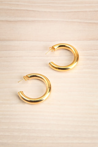 Eidatrae Thick Gold Plated Hoop Earrings | La Petite Garçonne 1