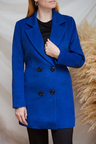 Roubaix Blue Straight Double-Breasted Coat | La petite garçonne model