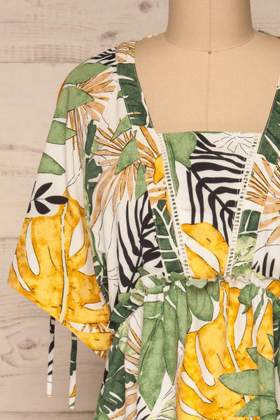 Eidernes Tropical Patterned Short Dress | La petite garçonne front close-up