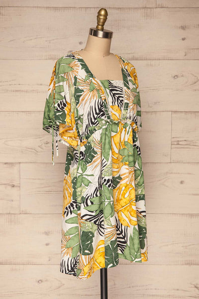 Eidernes Tropical Patterned Short Dress | La petite garçonne side view