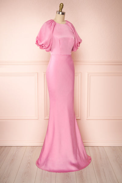 Eirwen Pink Satin Puffy Sleeve Flared Dress | Boutique 1861 side view