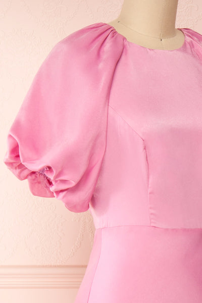 Eirwen Pink Satin Puffy Sleeve Flared Dress | Boutique 1861 side close-up